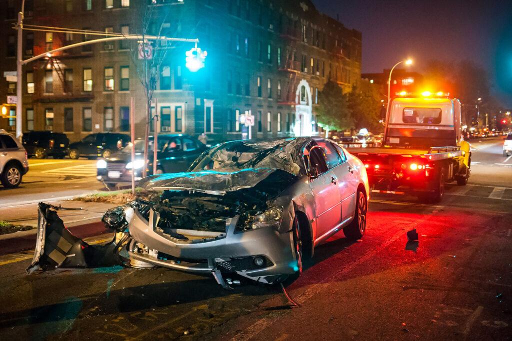 Car crash at night city